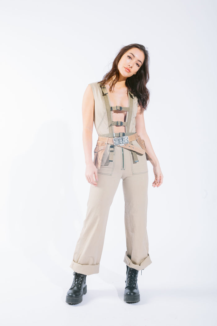 Vintage Chest Strap Utility Jumpsuit