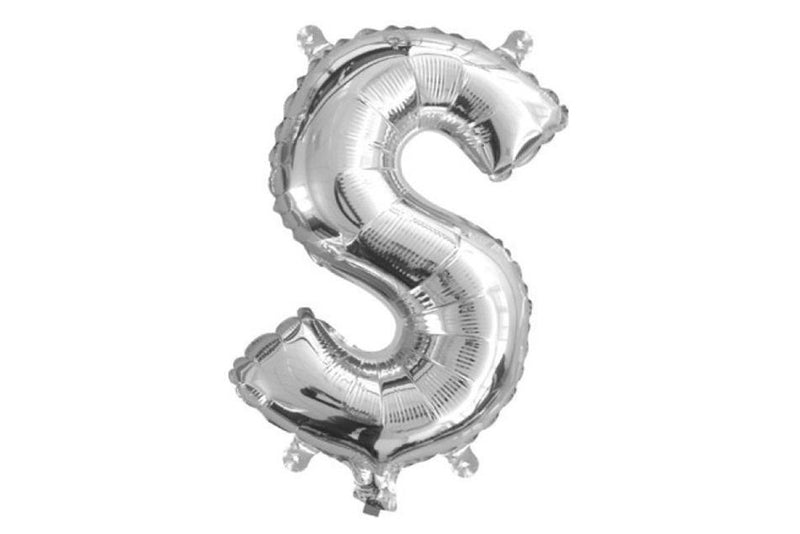 Mini Silver Foil Letter 'S' Balloon - Pop Roc Parties