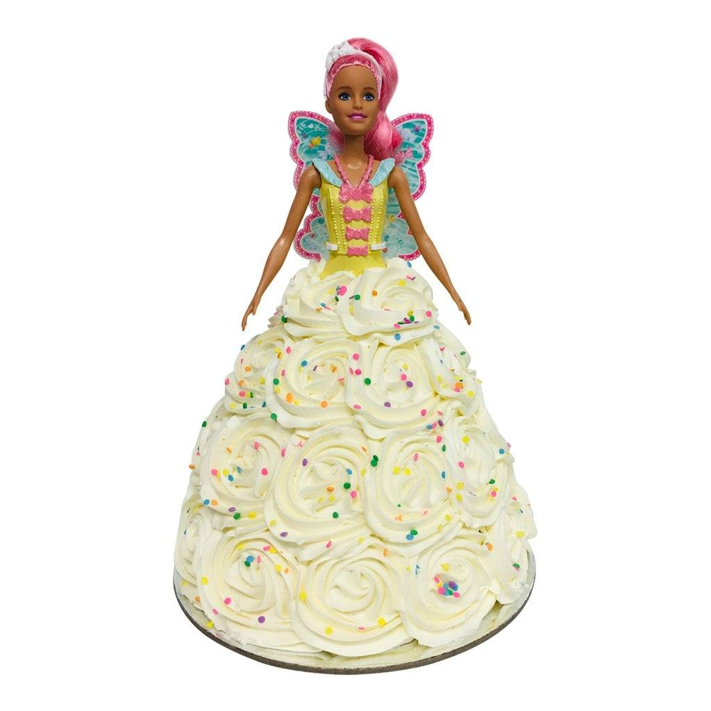 Fairy Swirl Sprinkles Barbie Doll Cake