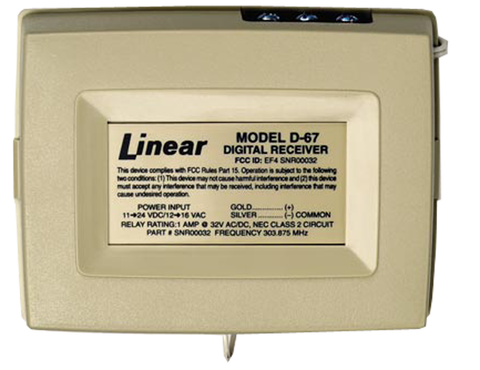 Digital Receiver, 1 Channel, 303.875MHz. D-67-Wireless Controls-Linear-Jayso Electronics