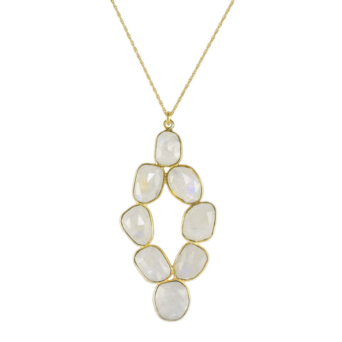 Moonstone Pebbled Diamond Pendant