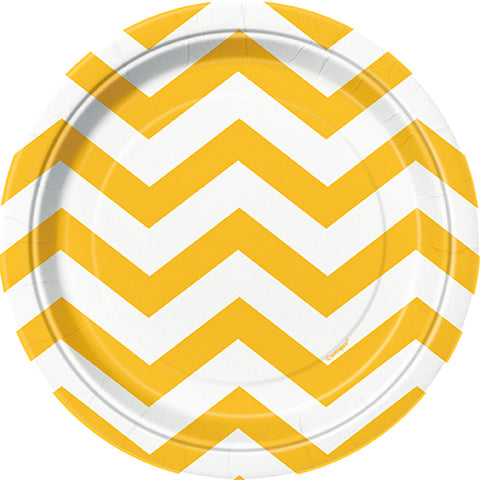 "Luncheon Plates 7"" 8/Pkg-Sunflower Yellow Chevron"