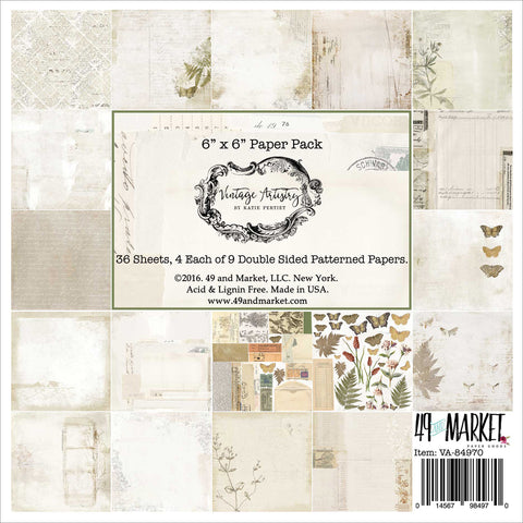 "49 And Market Collection Pack 6""X6"" 36/Pkg-Vintage Artistry, 9 Designs/3 Each"