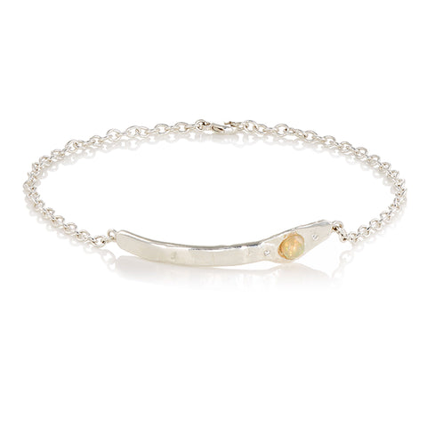 diamond and silver chain anklet