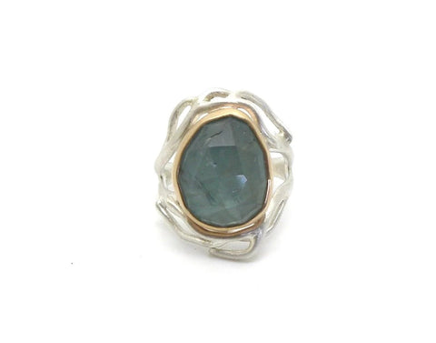 Aquamarine River Branch Waiting Ring, 6.5-Hannah Blount Jewelry