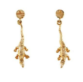 "1 1/4"" 14K Gold Albert Gator Dangle Earrings with Pell Logo Post"