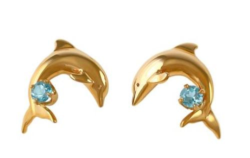 30751BT - DOLPHIN EARRINGS WITH BLUE TOPAZ