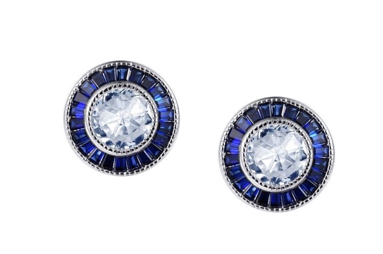 Lab Grown Sapphire Vintage Style Halo Earrings E0331CSP