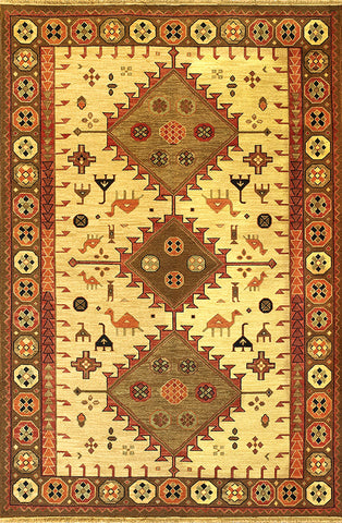 Kazak 1 - gabbeh wheat green - Soumak flatweave rug with unique tribal designs of animals and geometric shapes both contemporary and traditional