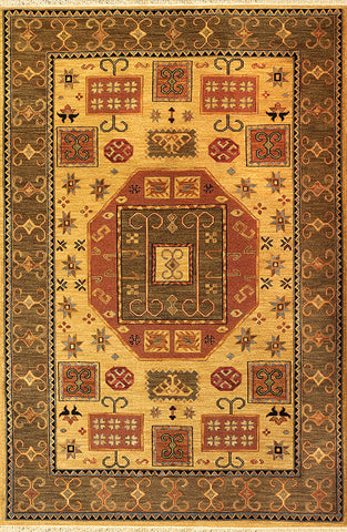 Kazak 5 kazak wheat - Soumak carpet, 100% new zealand wool, vibrant colors and repeating shapes