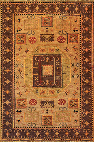 Kazak 7 kazak celery - sturdy soumak weave rug, subtle and warm tribal designs derived from traditional caucasian carpets