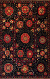 Mountain High Soumak Rug black red - Traditional and contemporary, this soumak area rug is playful with designs reminiscent of stars, flowers, and night constellations.