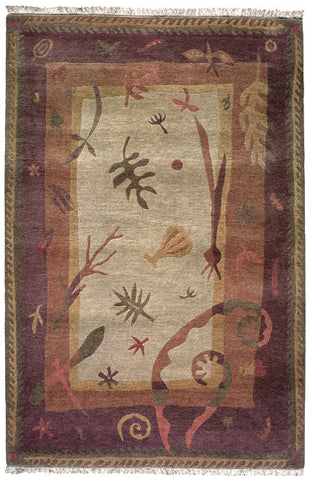 Botanica is a plant themed area rug, made of Tibetan wool, handspun and hand-carded.