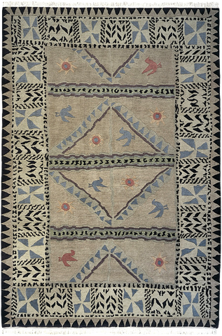 Sundial khaki - modern southwest lodge style area rug with pale cool colors and animal and sun shapes