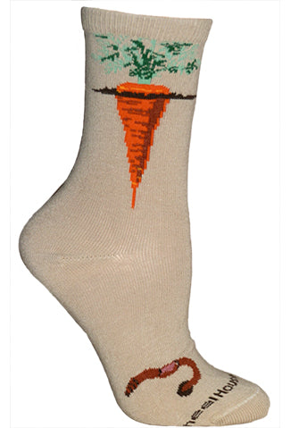 Carrots Crew Socks on Khaki
