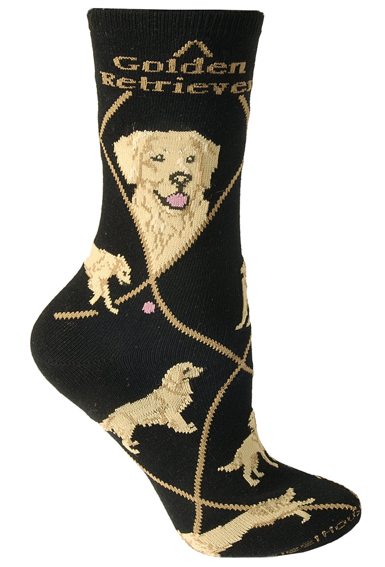 Golden Retriever Crew Socks on Black