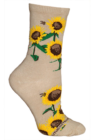 Sunflowers Crew Socks on Khaki