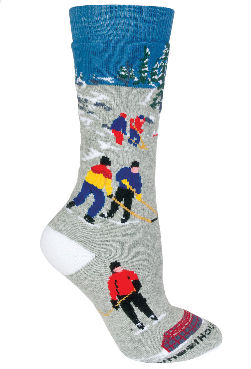 Hockey Cushioned Crew Socks on Blue