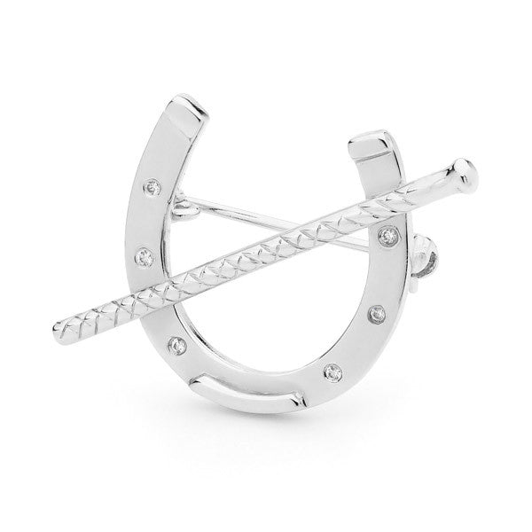 Horseshoe with Whip - Silver