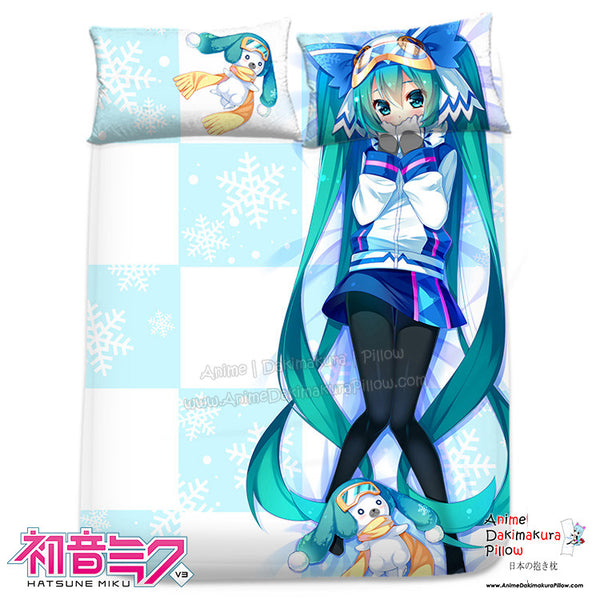 New Snow Miku Hatsune - Vocaloid Japanese Anime Bed Blanket or Duvet Cover with Pillow Covers H0314 - Anime Dakimakura Pillow Shop | Fast, Free Shipping, Dakimakura Pillow & Cover shop, pillow For sale, Dakimakura Japan Store, Buy Custom Hugging Pillow Cover - 1