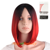 High Quality Carve bangs Short Straight Gradient Color Charms Cosplay Wigs