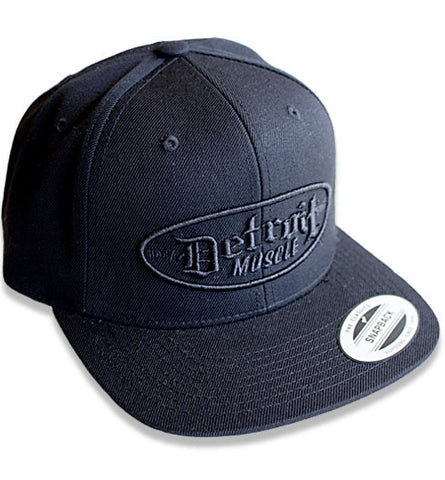 Snap Back Flat Brim, Black with Black Puff Logo
