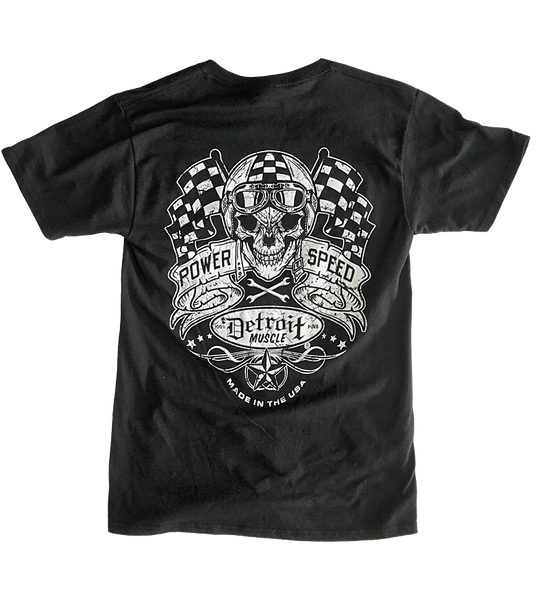 Detroit Muscle Skull and Flags Tee, Black, NEW