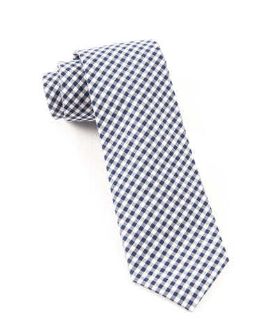 The Tie Bar Navy Novel Gingham Necktie