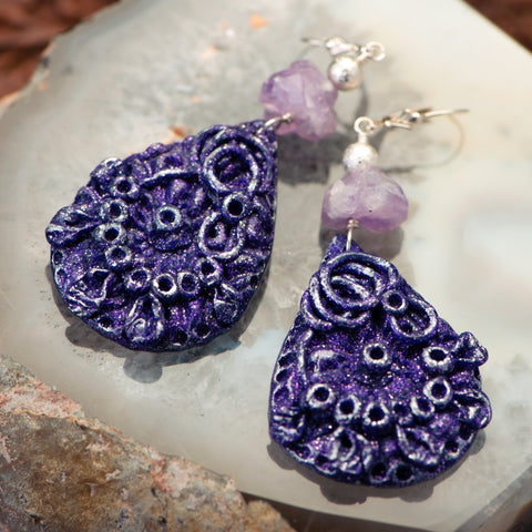 handmade earrings made of clay, amethyst and sterling silver balls.