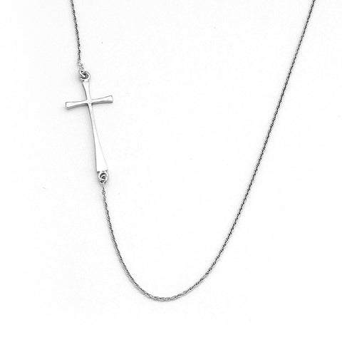 Beauniq Solid Sterling Silver Rhodium Plated Offset Sideways Cross Pendant Necklace, 20""