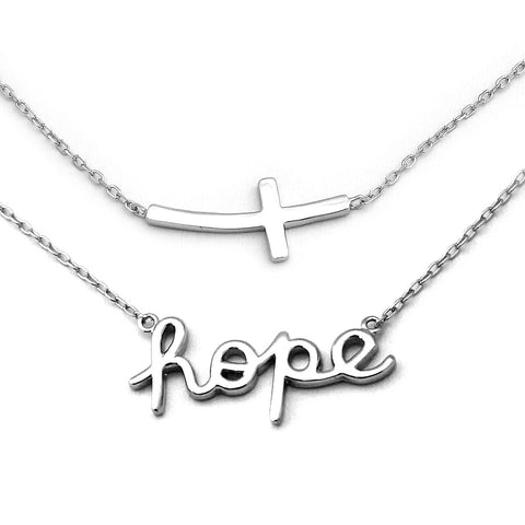 "Solid Sterling Silver Rhodium Plated Curved Sideways Cross and""Hope"" Necklace Set"
