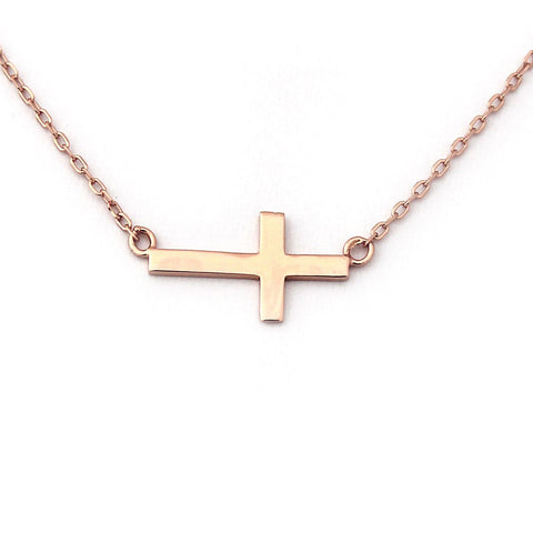 "Beauniq Rose Gold Tone Sterling Silver Sideways Cross Pendant Necklace, 16"" - 18"""