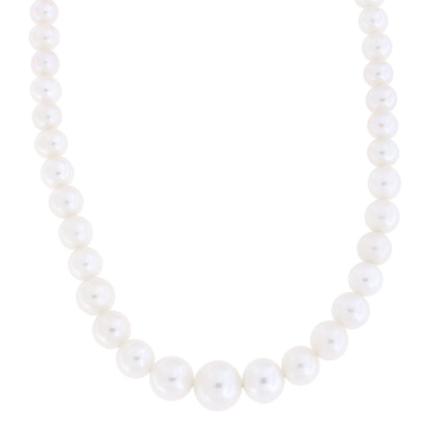 Beauniq 5.0mm-8.5mm Freshwater Cultured Pearl Graduated Strand with 14k Gold Lock Necklace, 17 inches