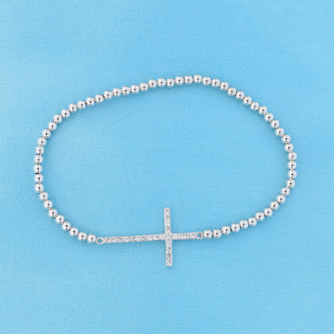 Solid Sterling Silver Rhodium Plated Cubic Zirconia Sideways Cross Stretch Bead Bracelet