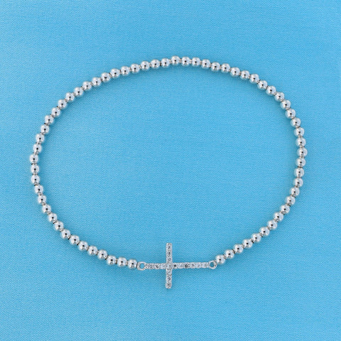 Solid Sterling Silver Rhodium Plated Cubic Zirconia Small Sideways Cross Stretch Bead Bracelet