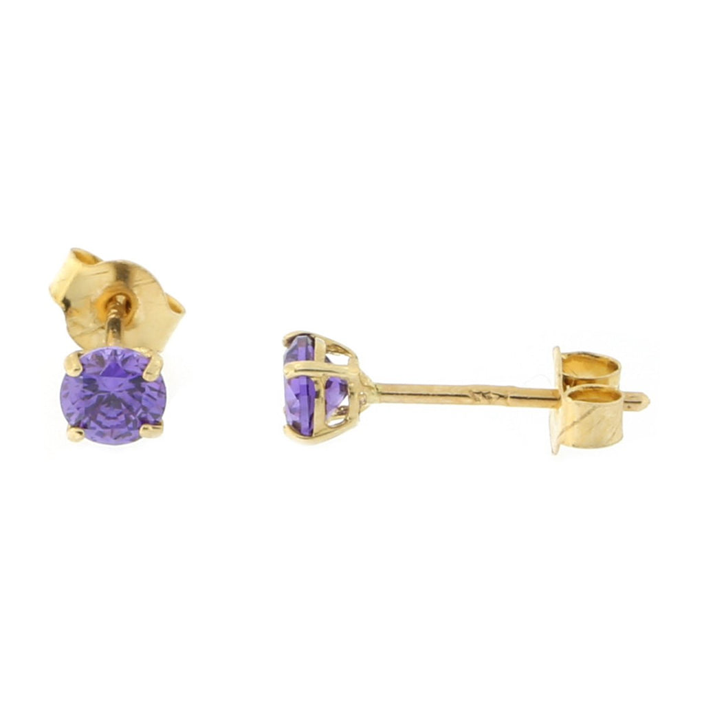 14k Yellow or White Gold Round Basket Set Simulated Amethyst Earrings