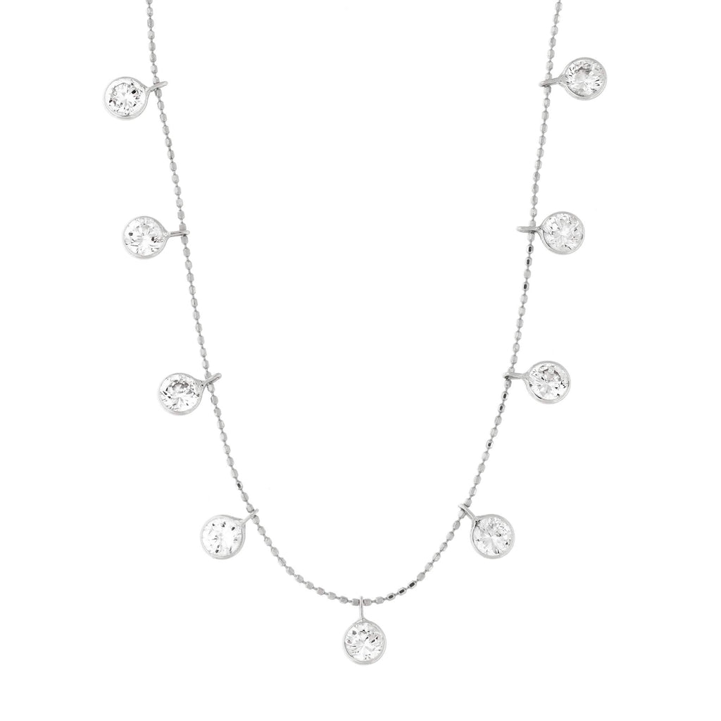 14k Yellow or White Gold Dangling Bezel Set Cubic Zirconia Ball Chain Cleopatra Necklace