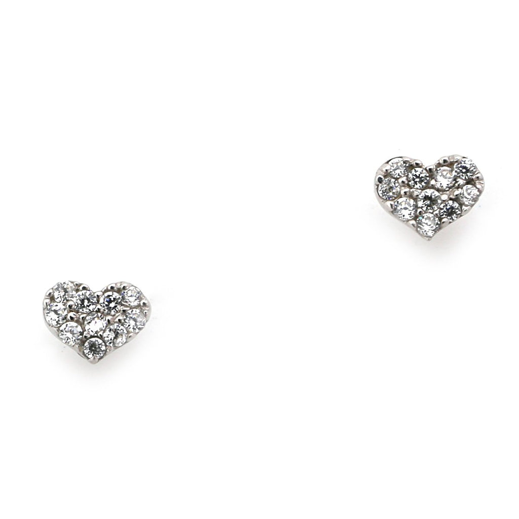 14k Yellow or White Gold 5mm Cubic Zirconia Micro Pave Heart Screwback Earrings