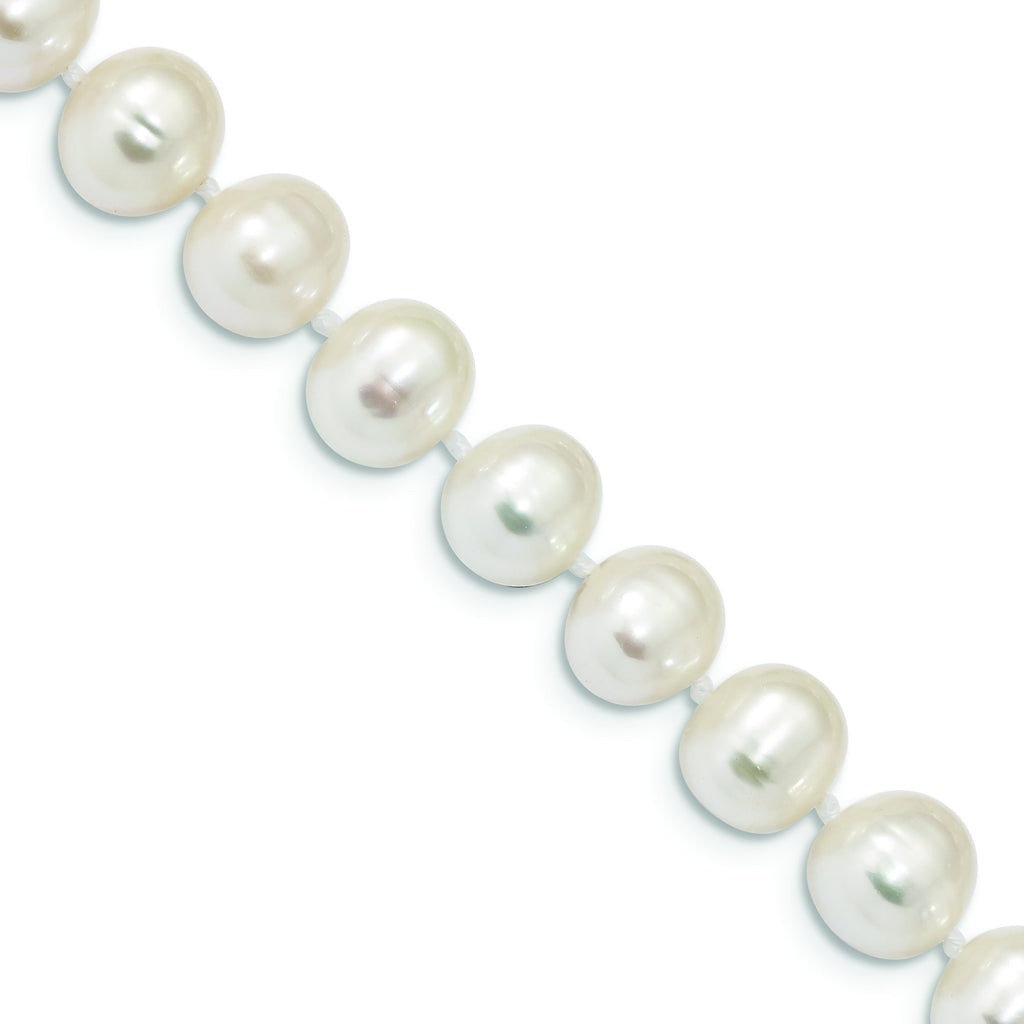 Sterling Silver Rhodium Plated 8mm-9mm White Freshwater Cultured Pearl Bracelet, 7.25""