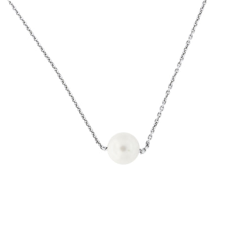 Sterling Silver Rhodium Plated Cable Chain 8mm Freshwater Cultured Pearl Necklace, 16""