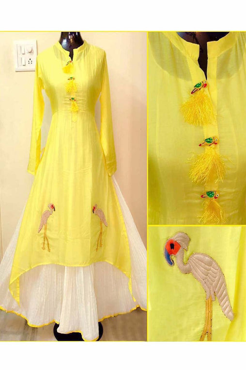 Yellow Color Designer Embrodried Kurti Ws-1002