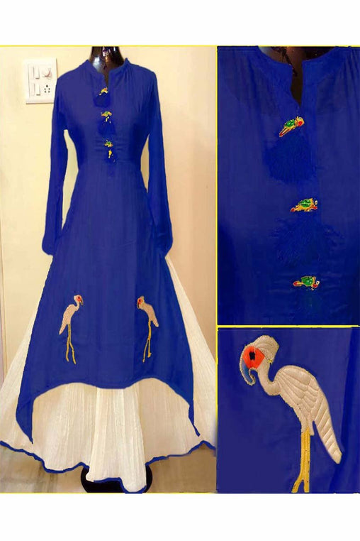 Navy Blue Color Designer Embrodried Kurti Ws-1004