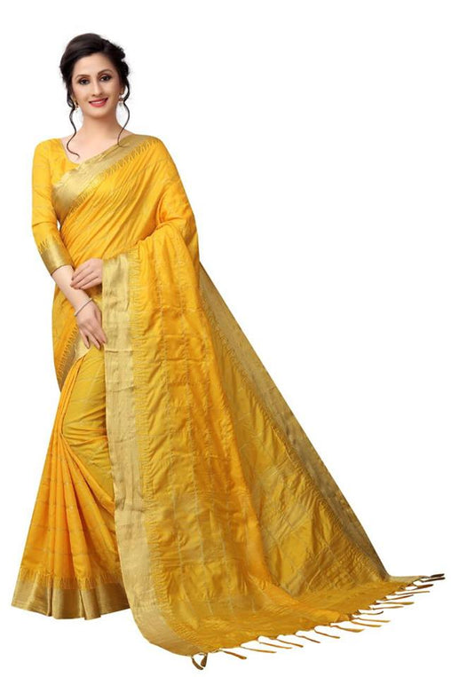 Mustered Yellow Color Pure Linen Saree Ws-5007