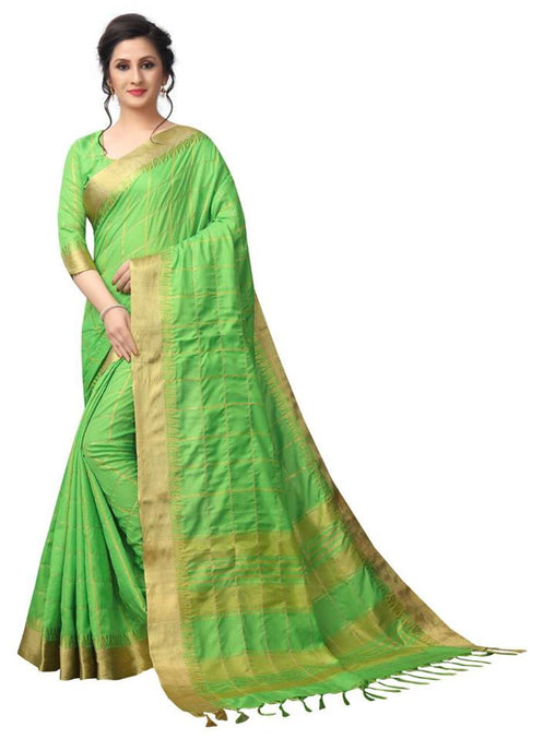 parrot color Pure linen Saree Ws-5009