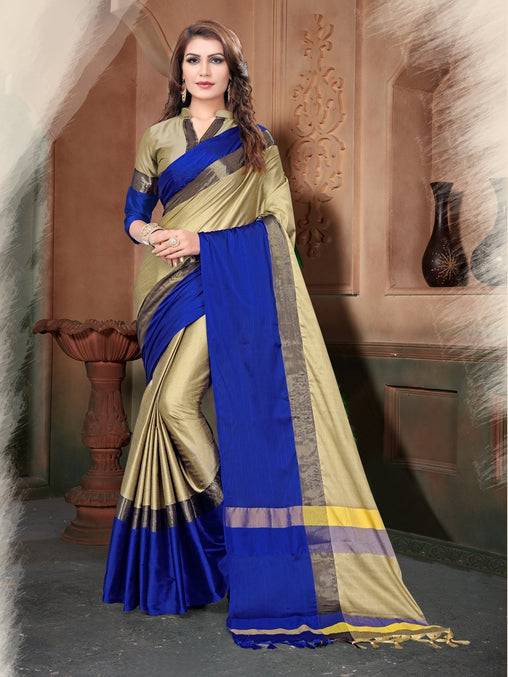 Gold And Blue Color Silk Saree