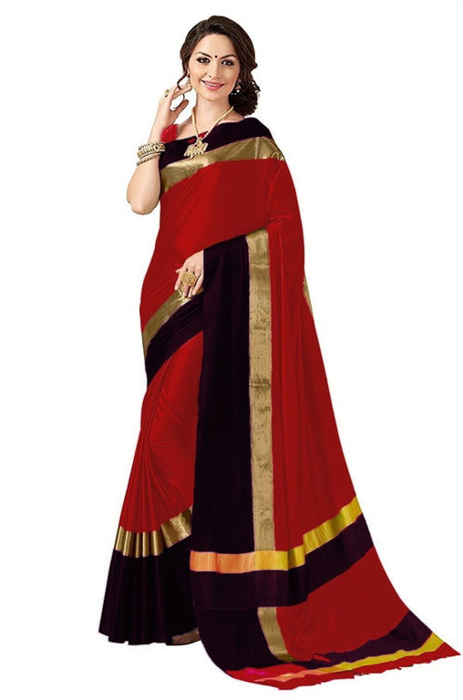 Red And Black Color Poly Cotton Saree