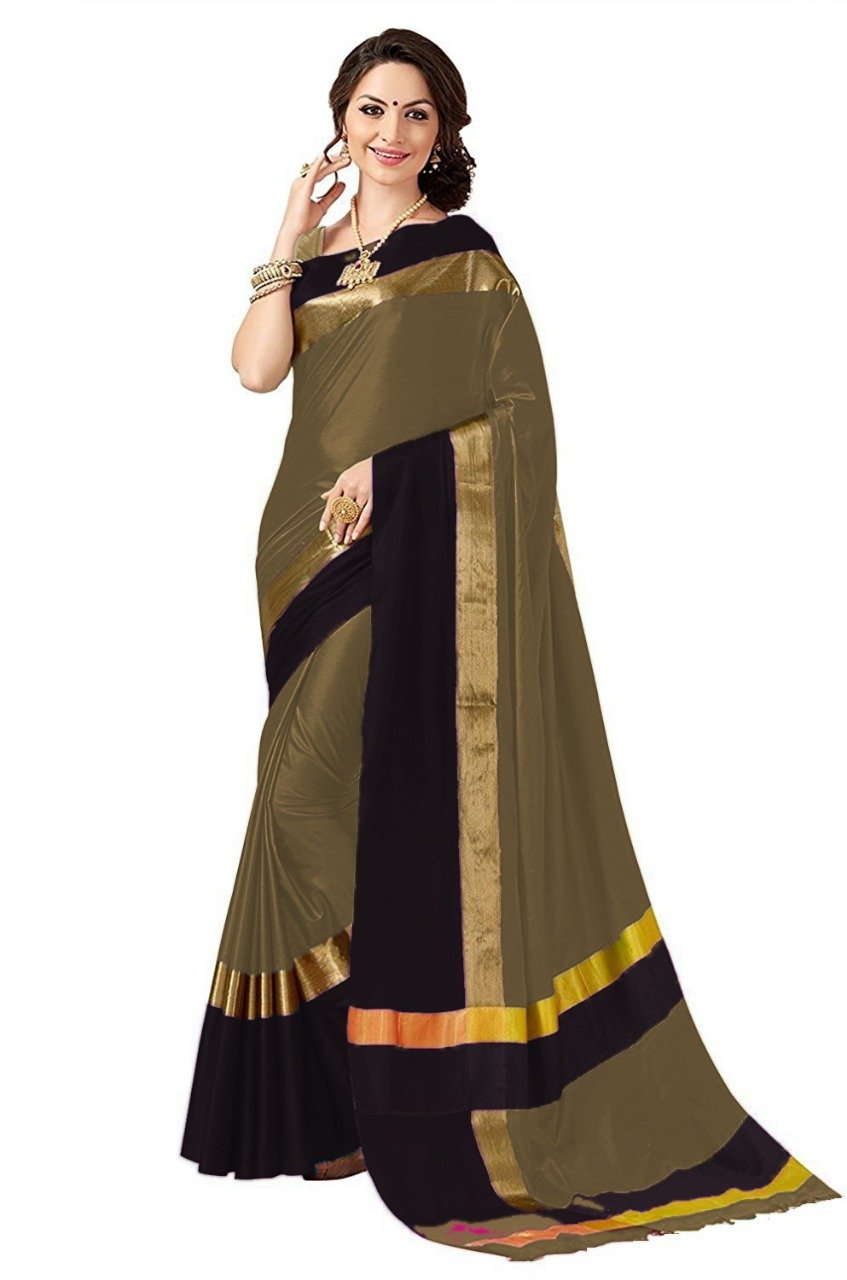 Dark Chiku And Black Color Poly Cotton Saree