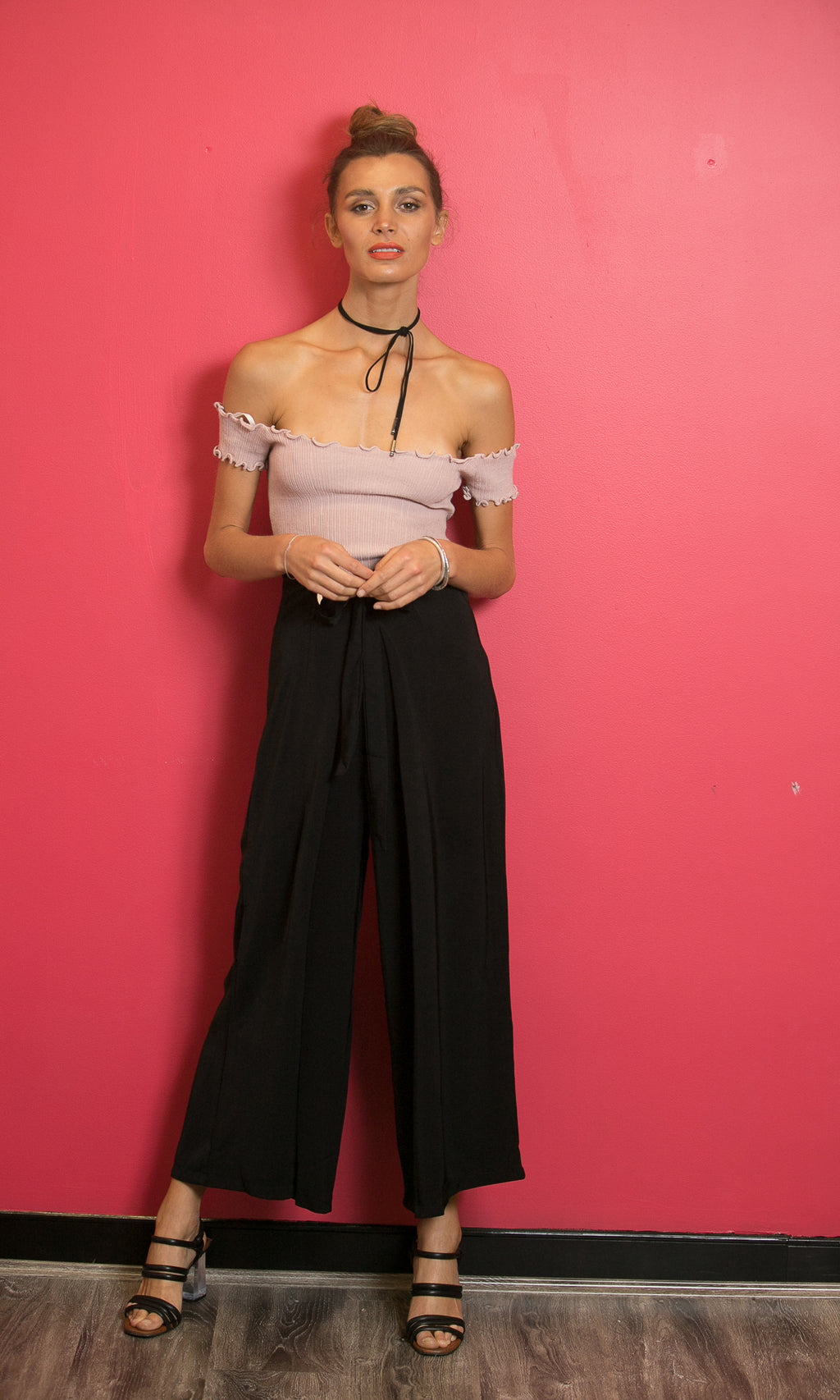 SANDRA HIGH WAISTED WIDE LEG PANTS in BLACK - BOTTOMS - Koogal.com.au