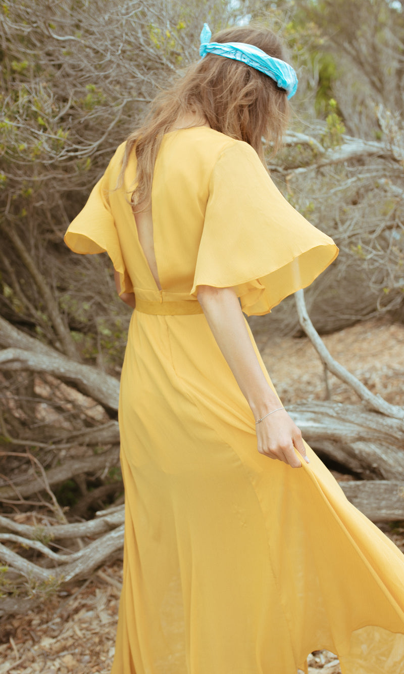HIPPIE PRINCESS BOHEMIAN MAXI DRESS WITH SLITS IN MUSTARD YELLOW - DRESS - Koogal.com.au