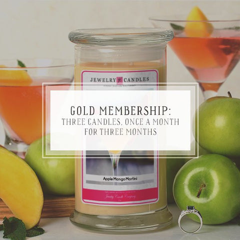 Candle Of The Month Club | Gold Package | Three Candles, Once A Month, For 3 Months-The Official Website of Jewelry Candles - Find Jewelry In Candles!